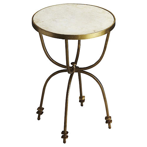 Riley Marble Side Table, White/Gold