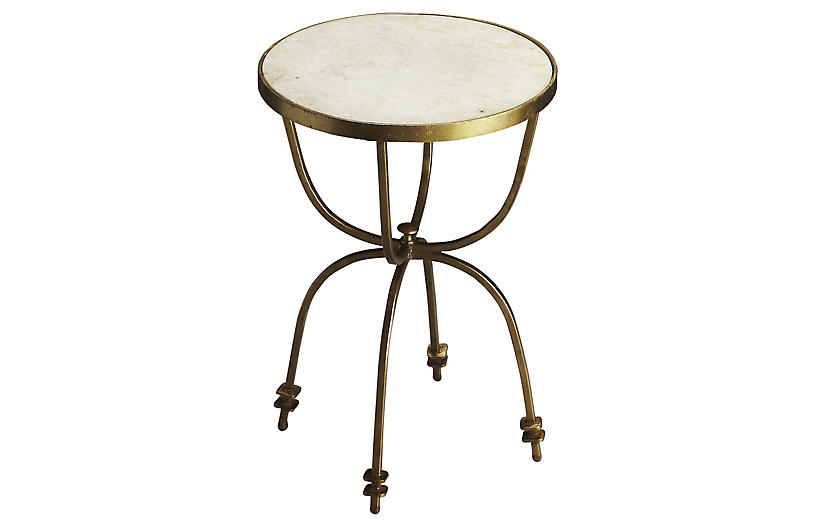 Riley Side Table, White/Gold