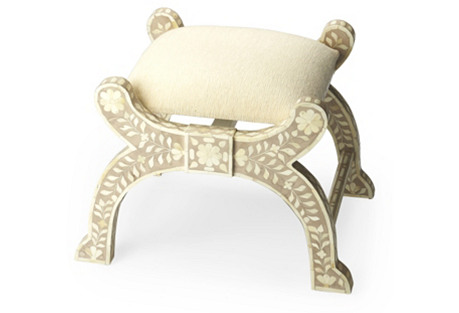 Cezar Bone-Inlay Stool, Sand