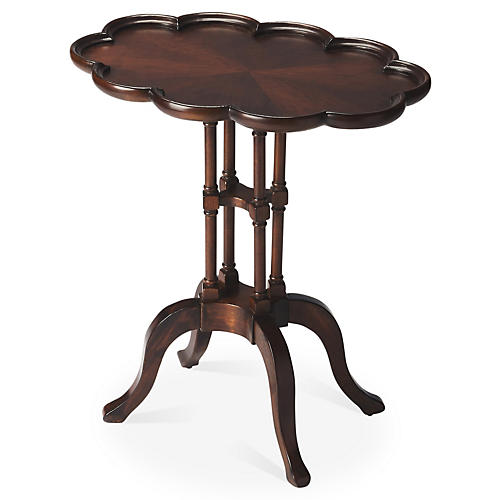 Alexa Scalloped Side Table, Espresso