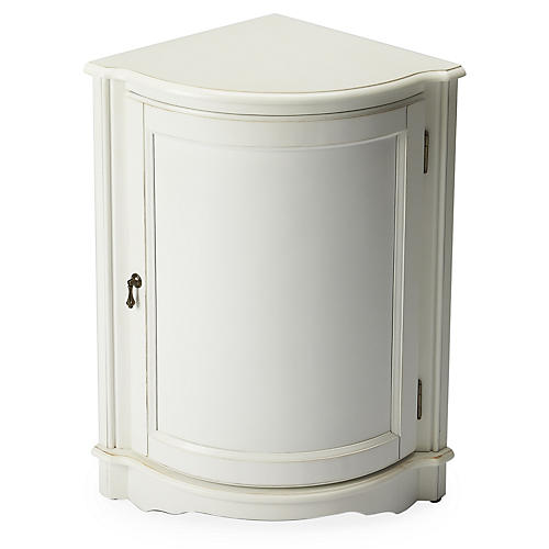 Mirena Wedge Corner Cabinet, White