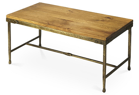 Erin Industrial Coffee Table, Gold