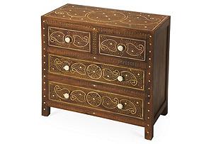 Fabel Bone Inlay Dresser, Honey/Gold