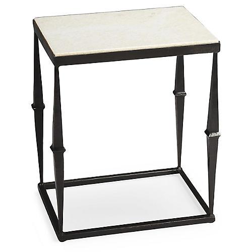 Eva Marble Side Table, Iron