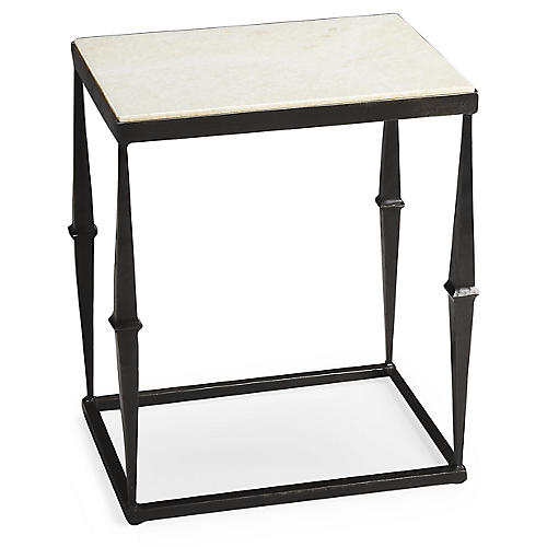 Eva Marble Side Table, Iron