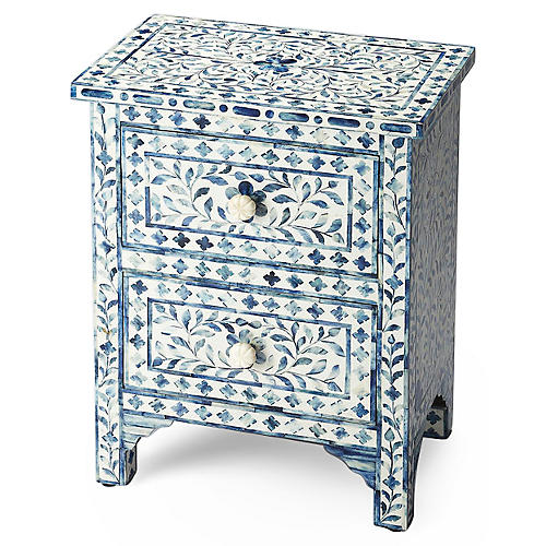 Layla Bone-Inlay Nightstand, Blue