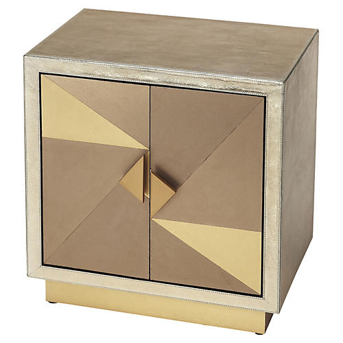 Bethany Accent Cabinet, Gold Leather
