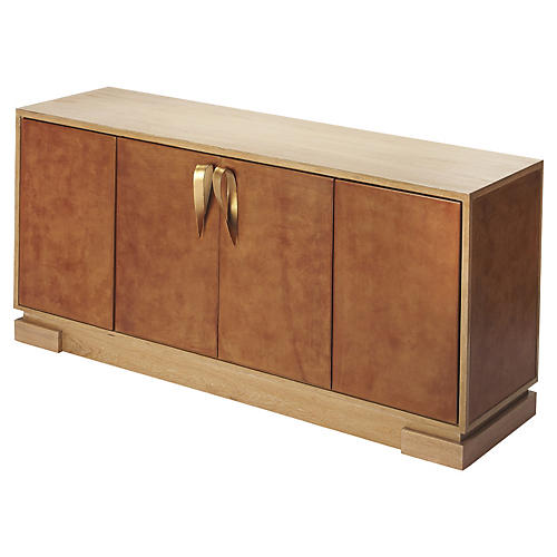 Ellie Sideboard, Light Brown Leather