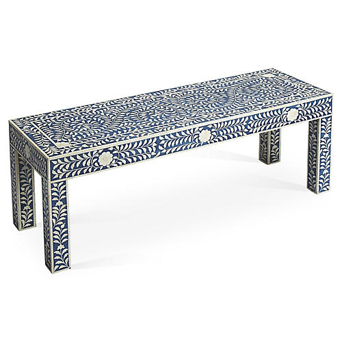 "Joselyn 48"" Bench, Blue/White"
