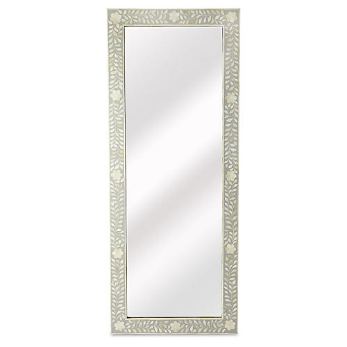 Bone Inlay Floor Mirror, White