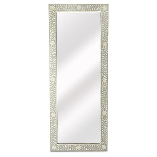 Bone Inlay Floor Mirror, White