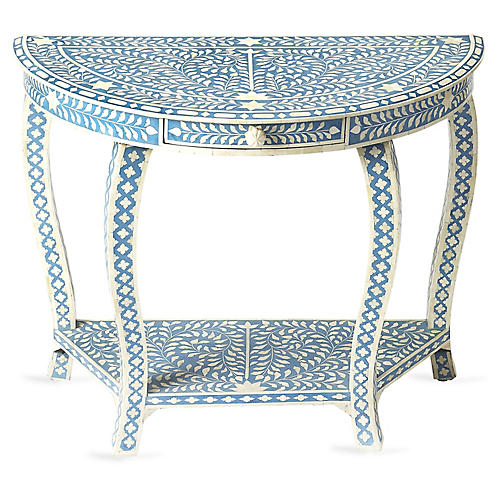 Rhodes Bone-Inlay Console, Blue/White