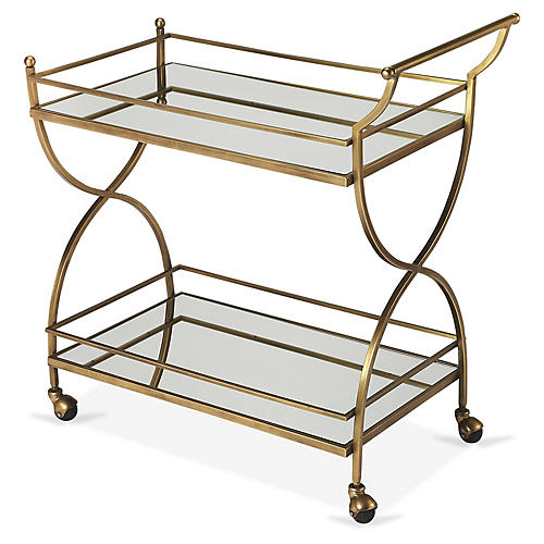 McKenzie Bar Cart, Antiqued Gold