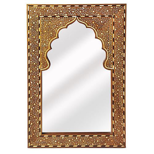 Lorena Bone-Inlay Wall Mirror, Brown