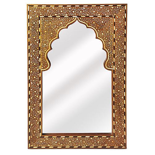 Lorena Bone-Inlay Wall Mirror, Brown