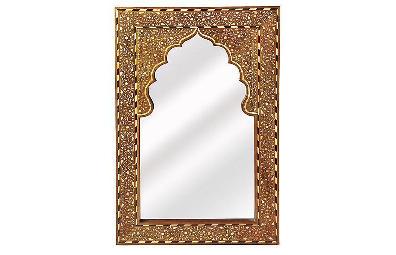Lorena Bone Inlay Wall Mirror, Brown