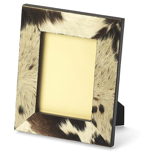 5x7 Dover Cowhide Frame, Brown/White