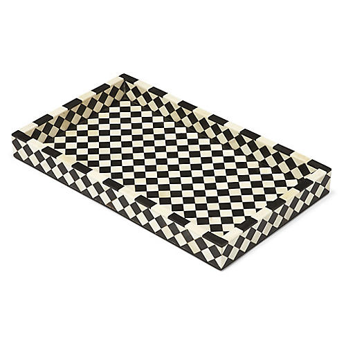 "20"" Rhett Serving Tray, Black/Ivory"