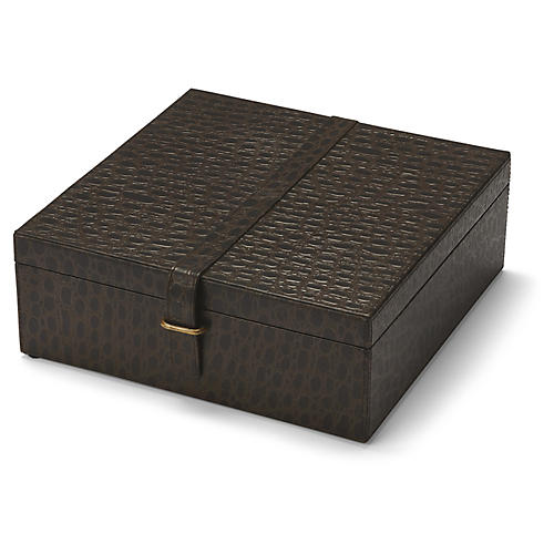 "12"" Sheridon Box, Chocolate/Brass"