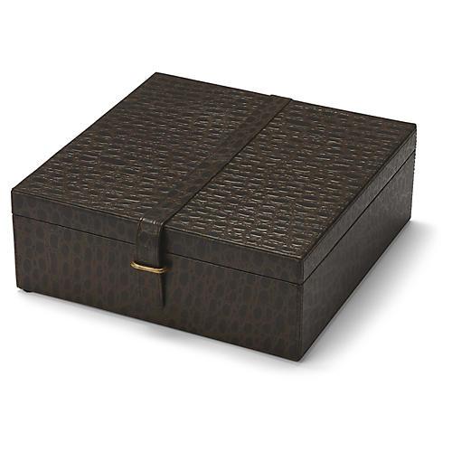 """12"""" Sheridon Box, Chocolate/Brass"""