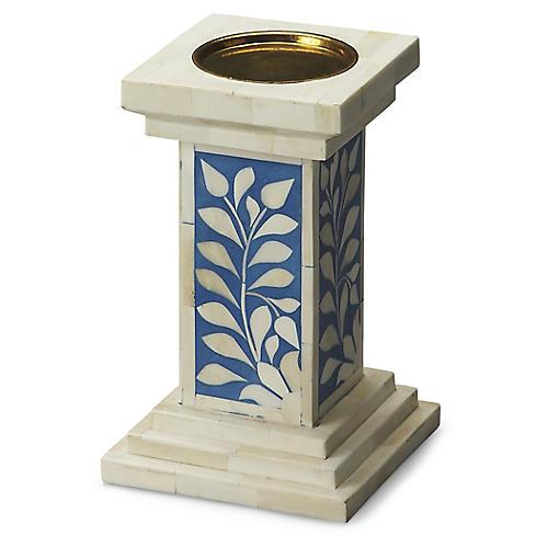 "10"" Tomlinson Candleholder, Blue/Ivory"