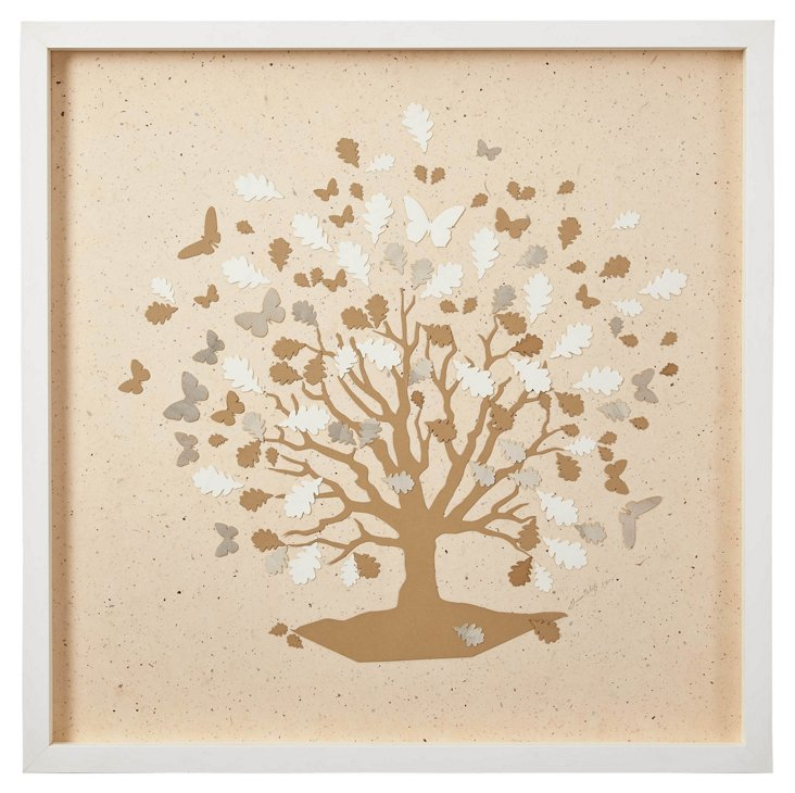 Tree and Butterflies, Beige