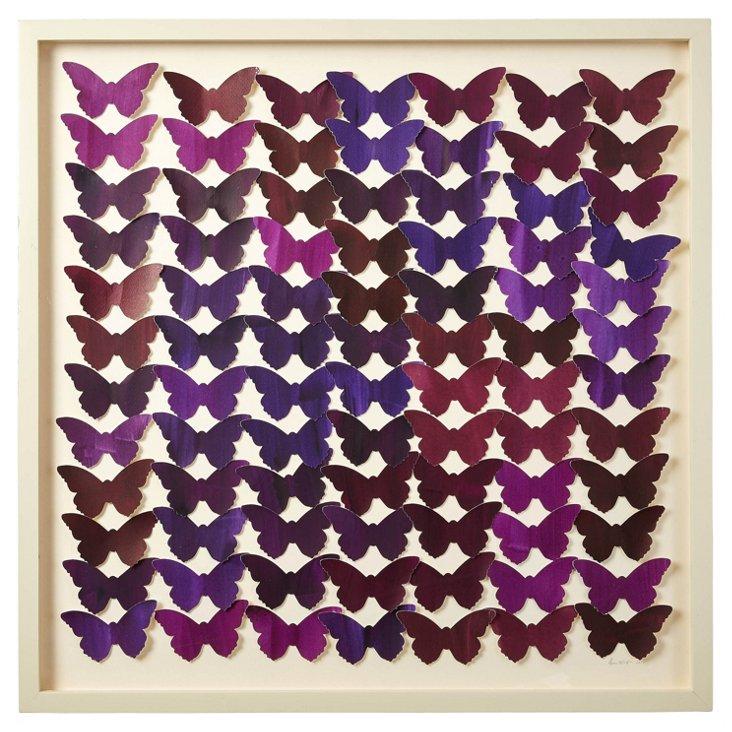 Cut Watercolor Butterfly Collage, Purple
