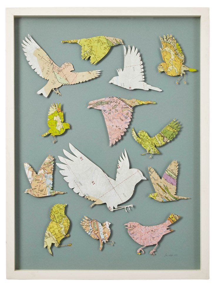 Cut Vintage Map Bird Collage I