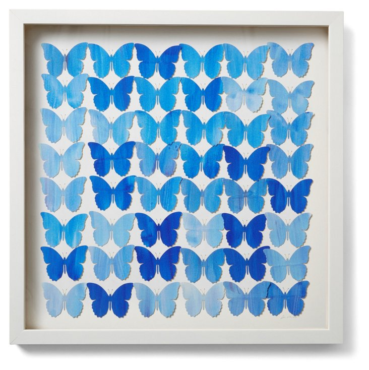 Cut Butterfly Collage, Blue