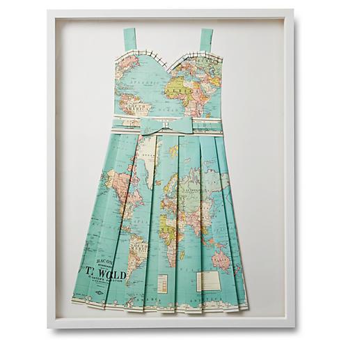 Folded Paper Map Dress, Globe