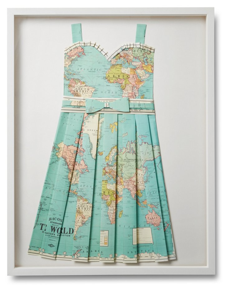 Folded Paper Map Dress, Globe