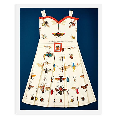 Folded Paper Dress, Bees and Ladybugs