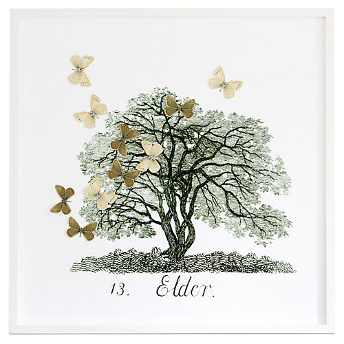 Dawn Wolfe, Tree w/Moth Cutouts: Elder