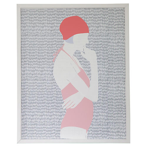 Swimmer Collage-Pink Maillot, Dawn Wolfe