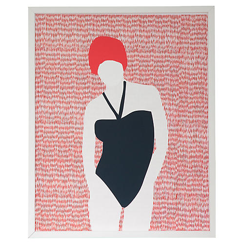 Dawn Wolfe, Swimmer Collage #2-Black Malliot