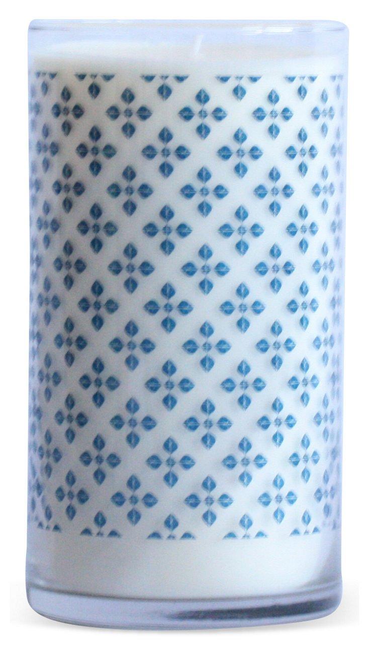 Blue Clover Pattern Candle, Shoreline