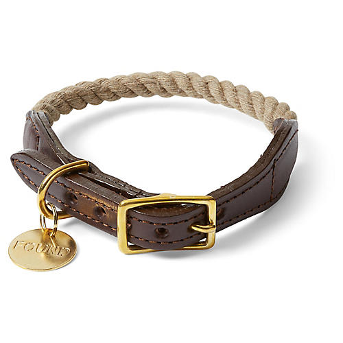 Chester Pet Collar, Dark Tan