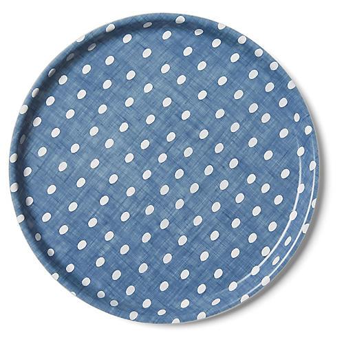 Linen Kids' Tray, Egg Blue