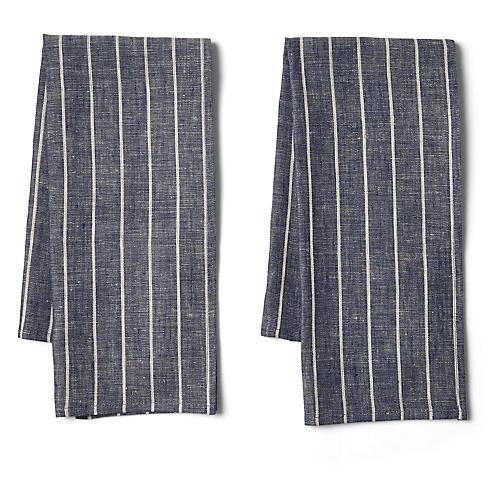S/2 Wide-Stripe Tea Towels, Navy