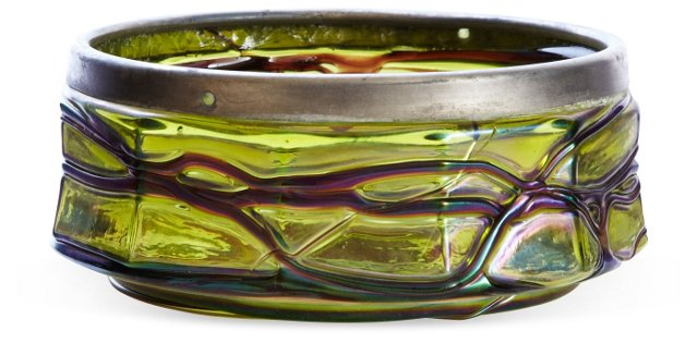 Art Glass Rose Bowl w/ Silver Rim