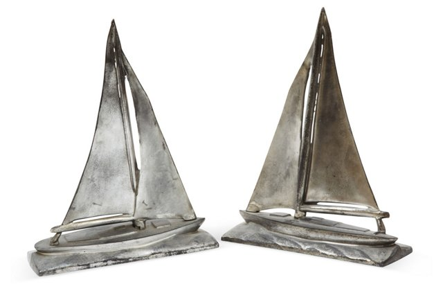 Sailboat Bookends, Pair
