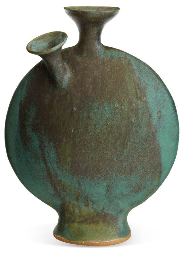 Green Japanese Art Pottery Vase