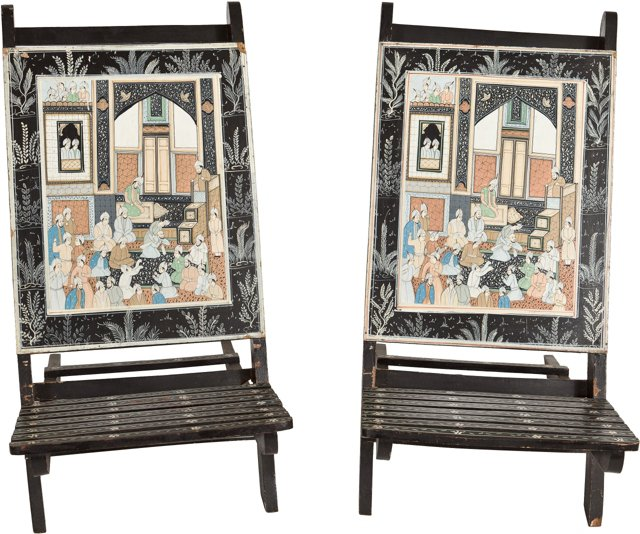 Anglo-Indian Painted Chairs, Pair