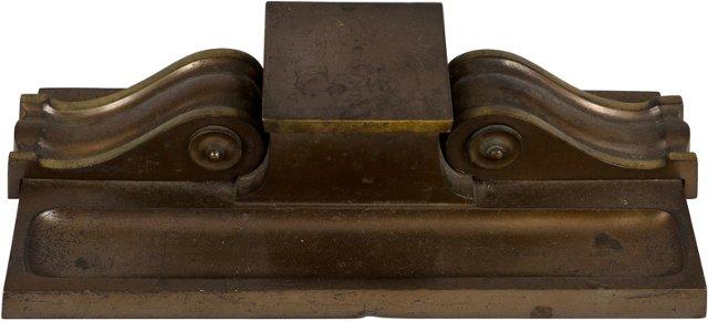 1920s Impressive Bronze Ink Well