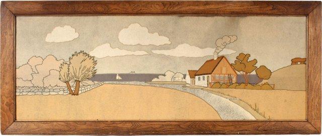 Felt & Embroidery Landscape Collage