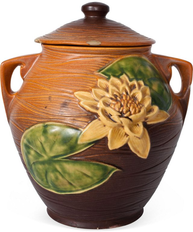 Large Roseville Water Lilly Cookie Jar