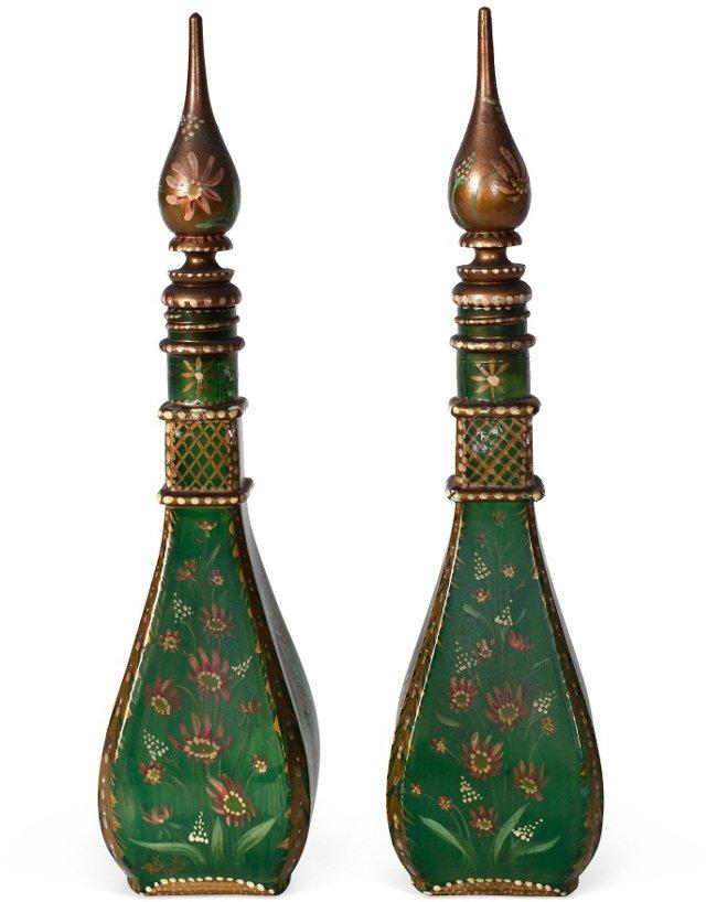 Green Glass Czech Perfume Bottles, Pair