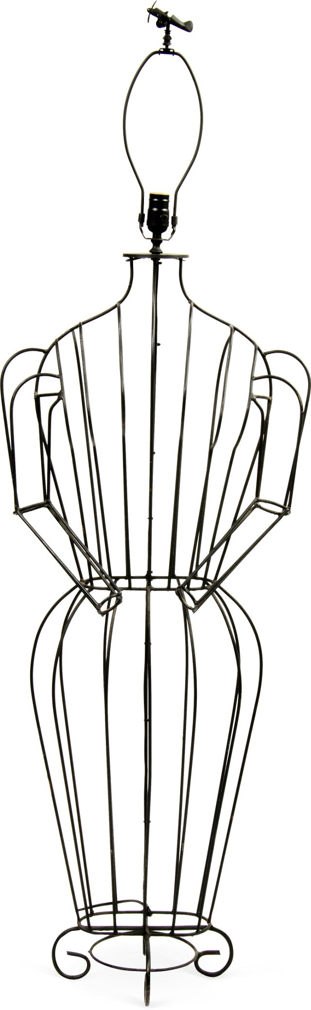 Sculpted Iron Dress Form Floor Lamp