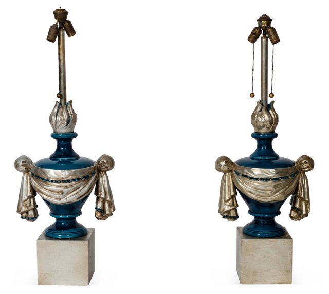 Silver Leaf & Blue Torch Lamps, Pair