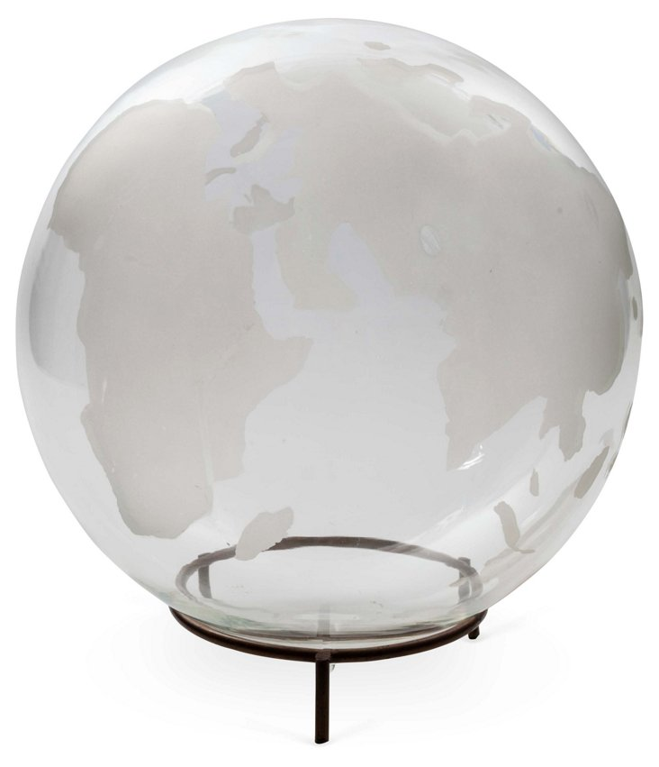 Hand-Blown Crystal Globe & Stand